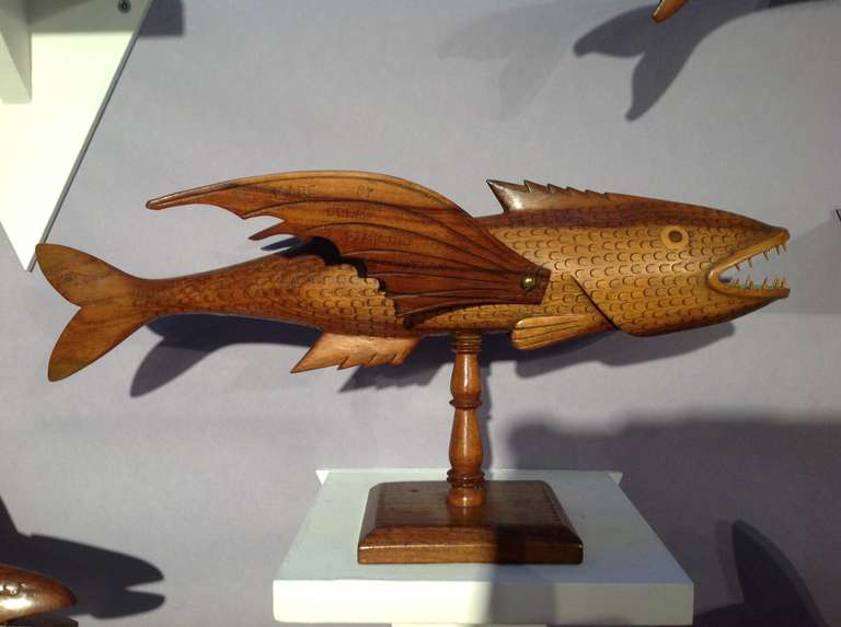 Very rare collection of pitcairn carved folk art fish