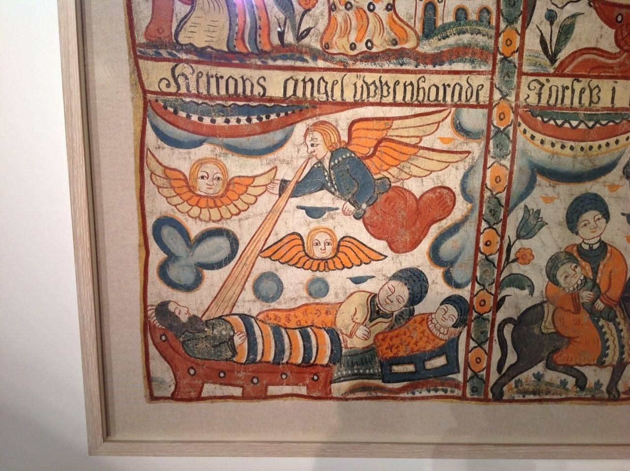 19th Century Swedish Folk Art Painting For Sale