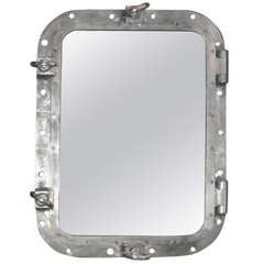 1940s Aluminum Rectangle Ship Mirror, France