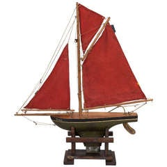 Turn of the Century English Pond Boat with Red Sails