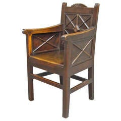 Very Unusual Archaic Georgian Wainscot Armchair
