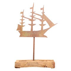 19th C Silohuette Ship Weathervane