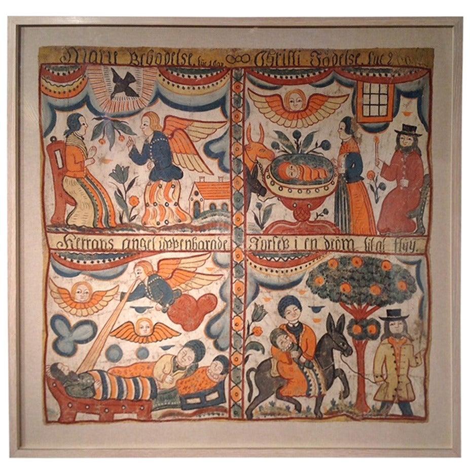 Swedish Folk Art Painting For Sale