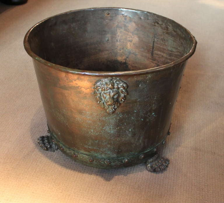 For Sale on 1stdibs - Good English 19th Century copper and brass log holder or planter having a rolled lip and hand hammered and riveted body