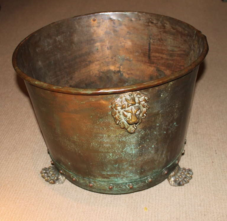 19th Century English Copper and Brass Log Holder For Sale