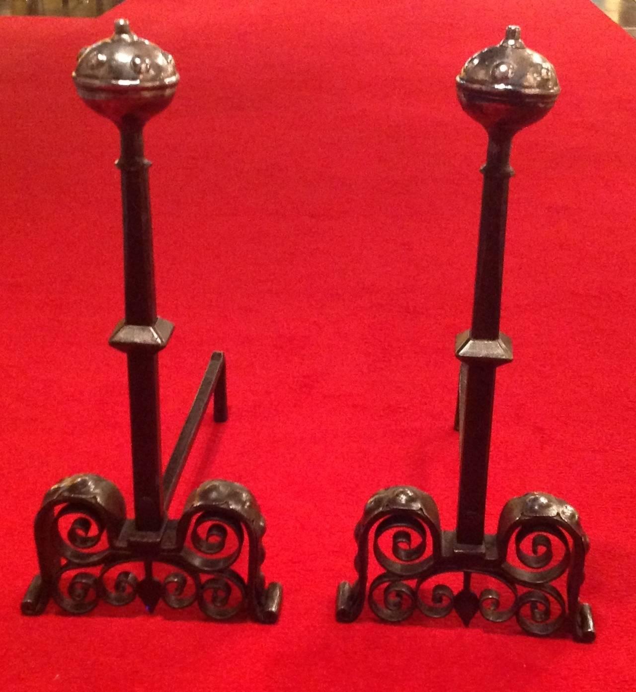 Bold pair of arts and crafts mixed metal andirons for sale for Metal arts and crafts