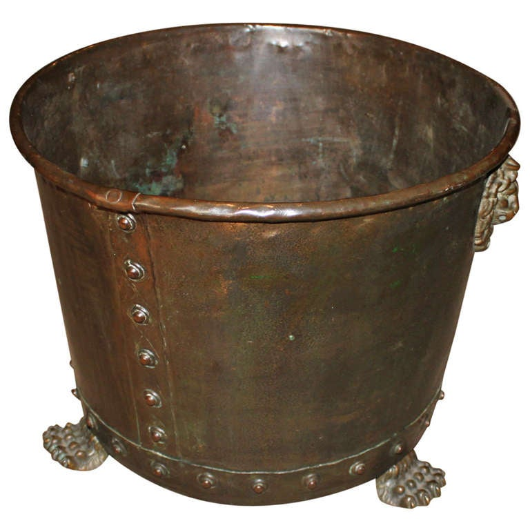 English Copper and Brass Log Holder For Sale