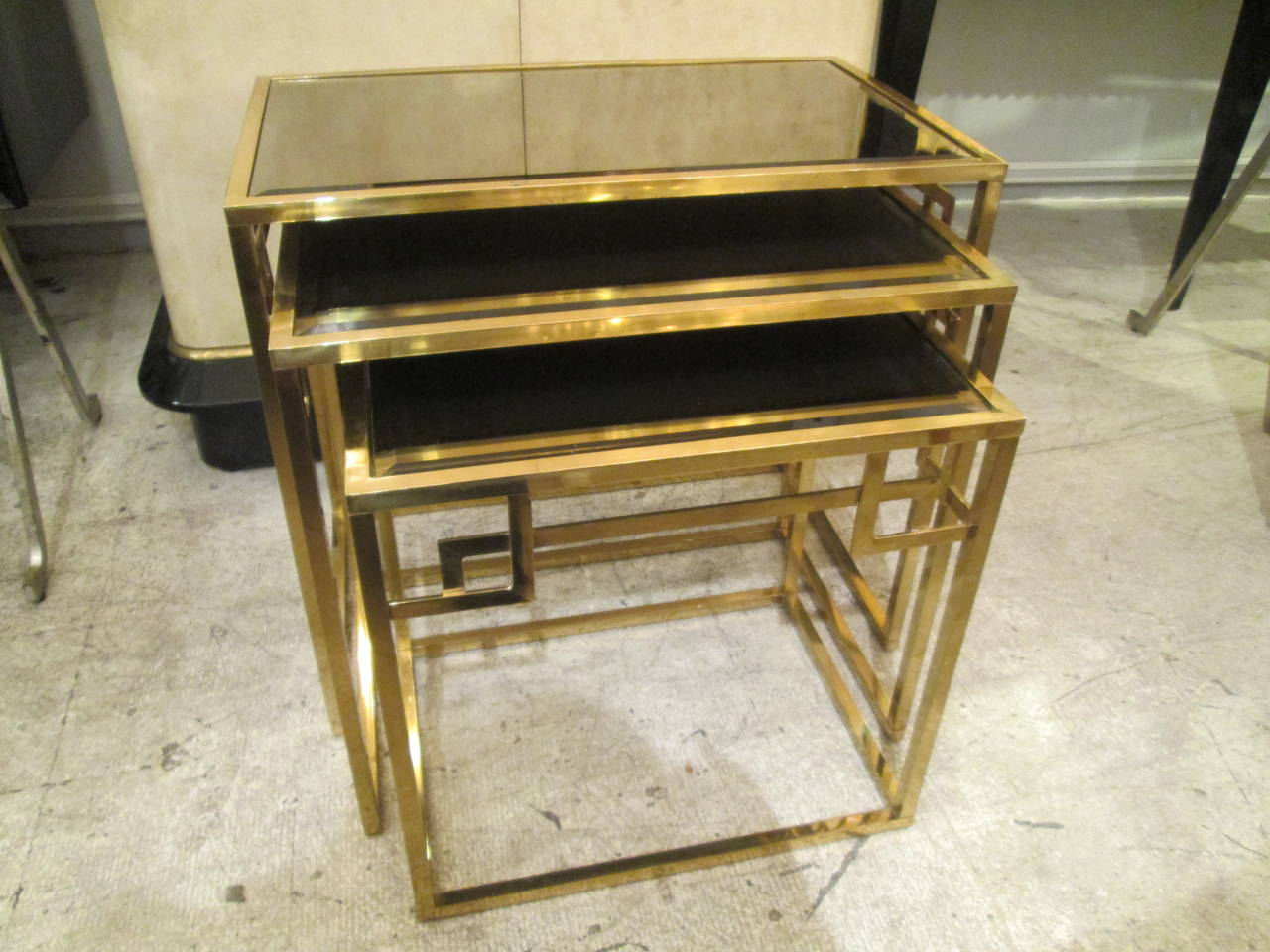Set Of Brass Nesting Tables With Smoked Glass Tops At 1stdibs