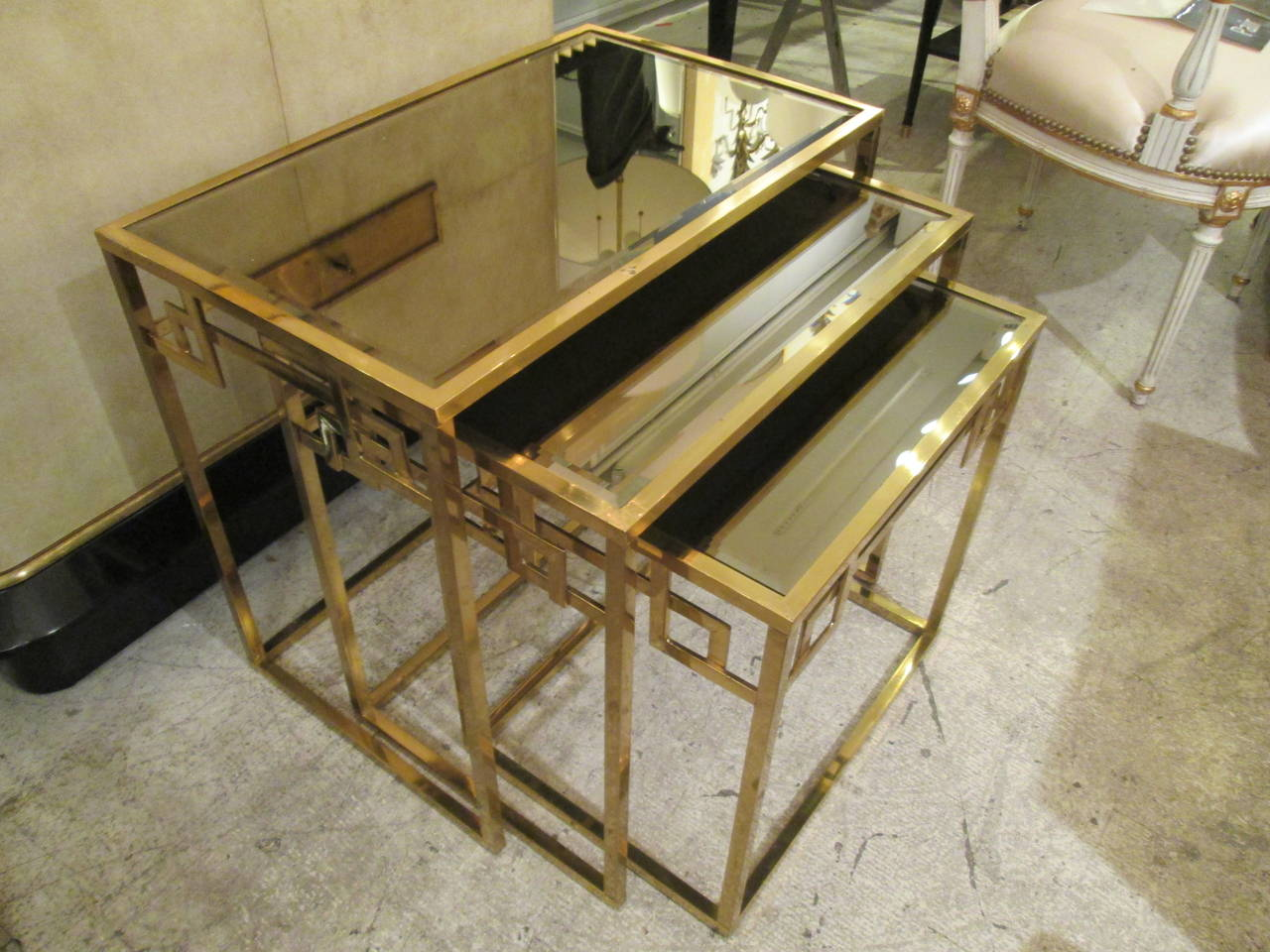 Set of brass nesting tables with smoked glass tops at 1stdibs for Glass top nesting tables