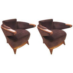 Pair of Sculptural Mid-Century Lounge Chairs with Cantilevered Arms