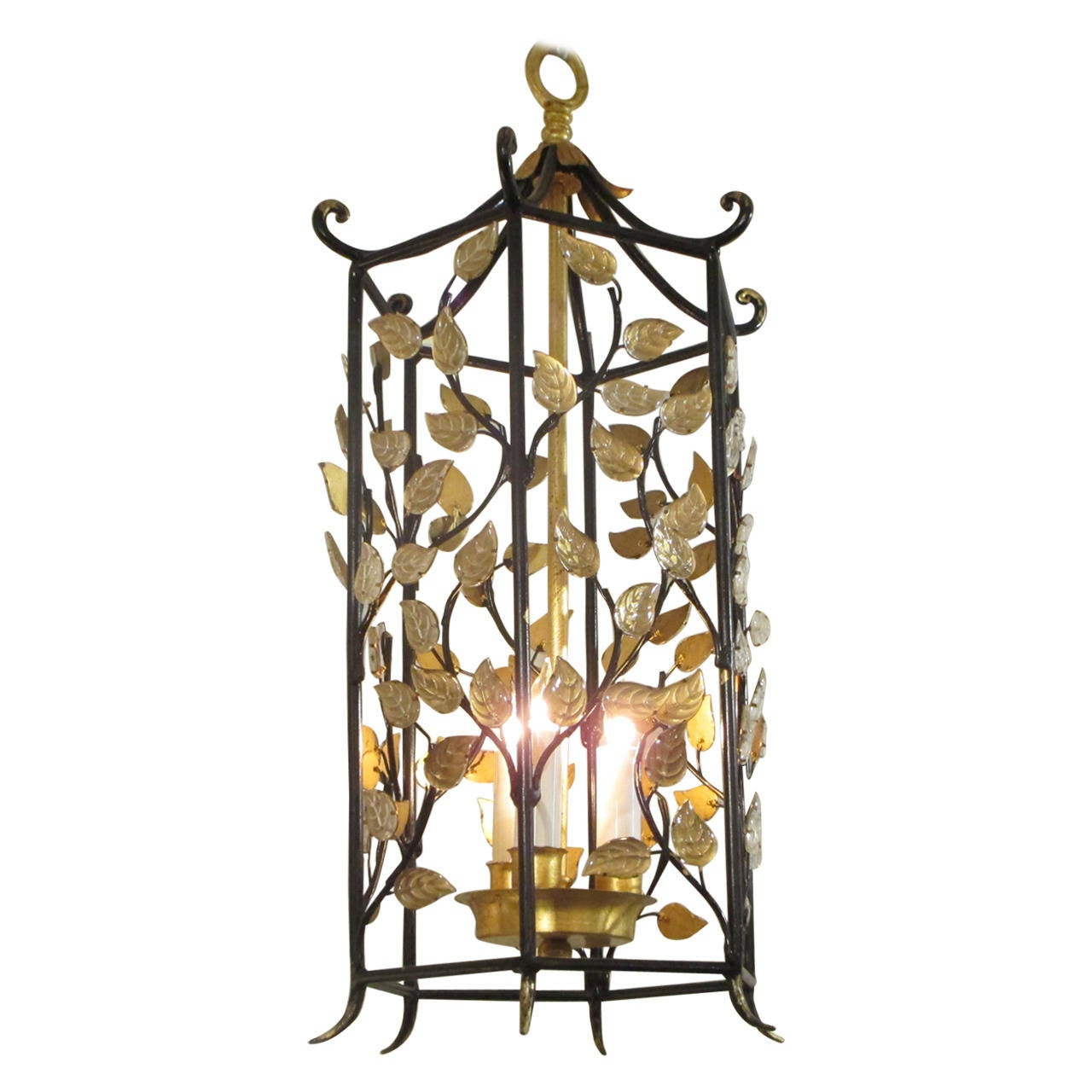 Pagoda shaped iron and gilt metal leaf motif chandelier for sale at pagoda shaped iron and gilt metal leaf motif chandelier for sale arubaitofo Images