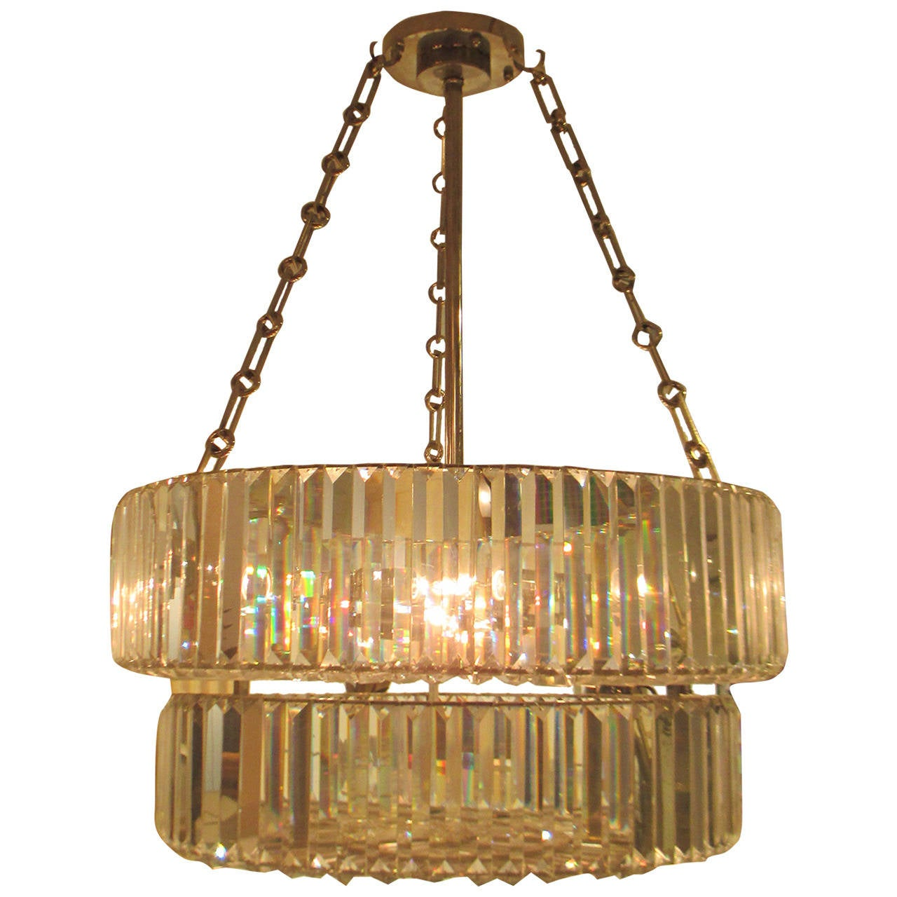 Nickel-Plated and Crystal Chandelier in the Art Deco Manner