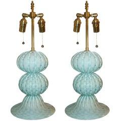 Pair of Murano, Handblown, Sphere Lamps