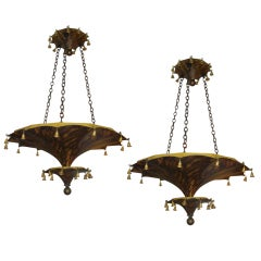 Pair of Faux-Tortoise Pagoda Shaped Tole Fixtures