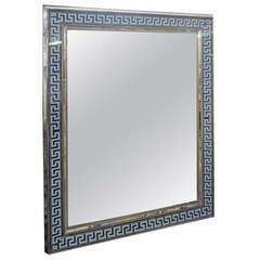 Reverse-Painted Rectangular Mirror with Greek Key Pattern