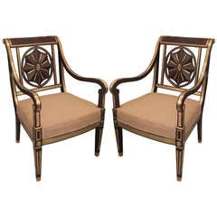 Fine Pair of Mahogany Brass-Inlaid Baltic Armchairs