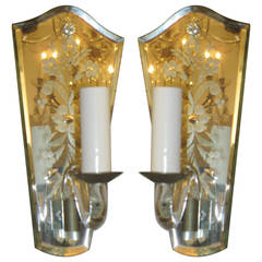 Pair of Hand-Etched Venetian Floral Sconces