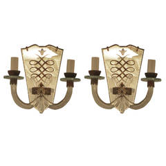 Pair of Moderne, Reverse Painted Sconces with Mirrored Backs