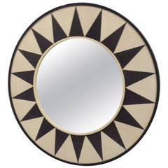 Custom Shagreen Mirror with Sunburst Pattern