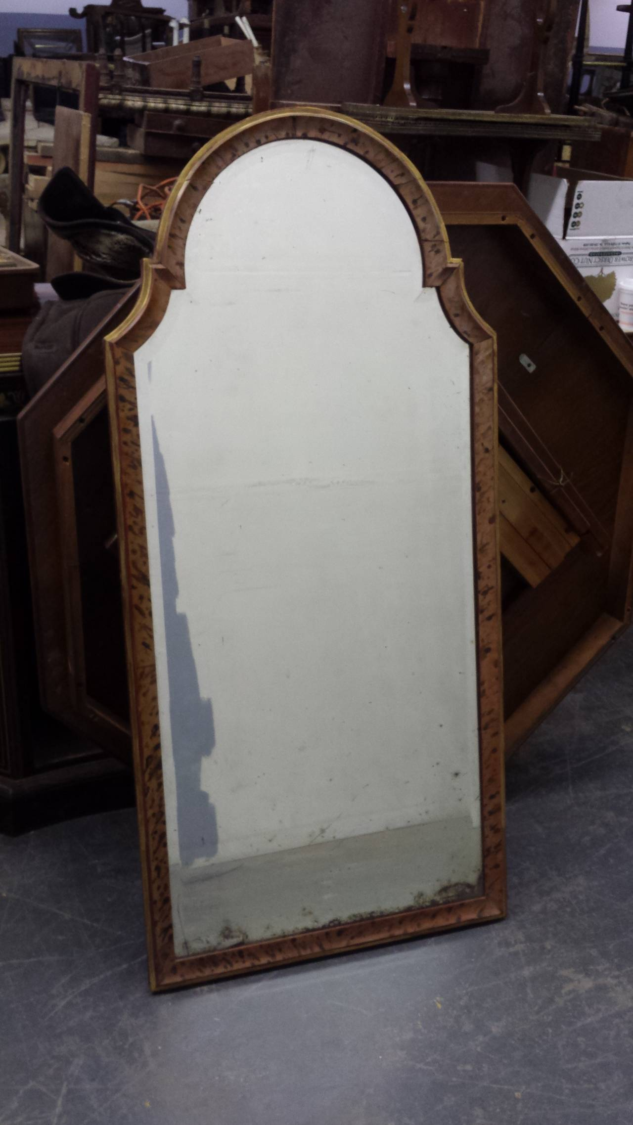 Faux-painted Queen Anne style mirror.