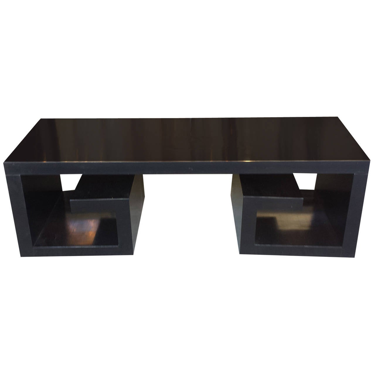 Sculptural ebonized coffee table or bench with greek key pattern sculptural ebonized coffee table or bench with greek key pattern base 1 geotapseo Gallery