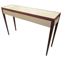Parchment and Mahogany Console With Three Drawers