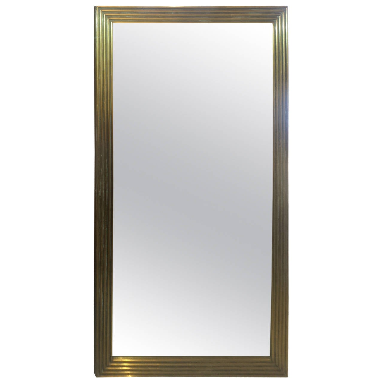 Rectangular Reeded Bronze Mirror