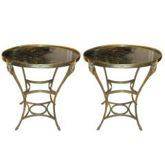 Exquisite Pair of Marble Top Bronze Tables