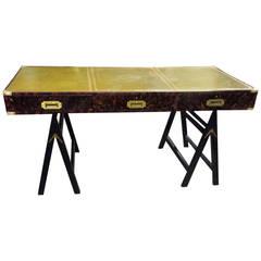 Faux Tortoise Leather Top Campaign Desk