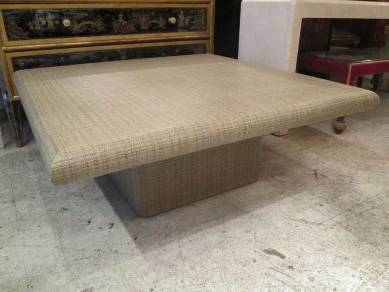 springer style grass cloth coffee table at 1stdibs