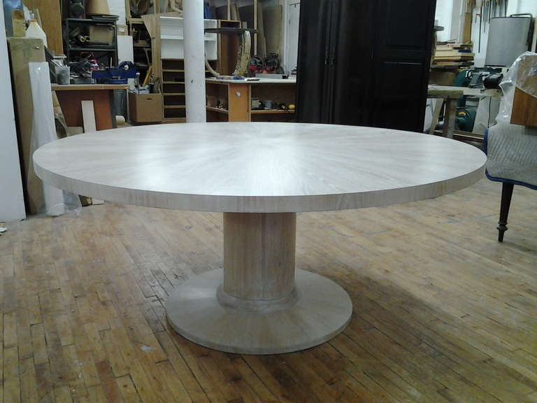 American Cerused Oak Circular Dining Table On Pedestal Base For