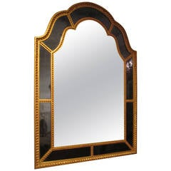 Giltwood Queen Anne Style Mirror with Cobalt Blue Glass