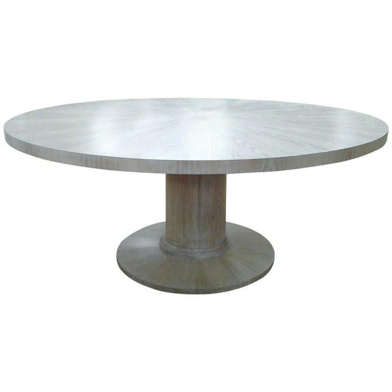 Cerused Oak Circular Dining Table on Pedestal Base at 1stdibs : 1063176l from www.1stdibs.com size 768 x 768 jpeg 17kB