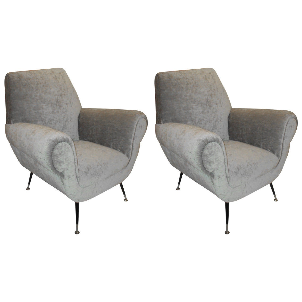 Sculptural pair of mid century modern armchairs at 1stdibs for Mid century modern armchairs