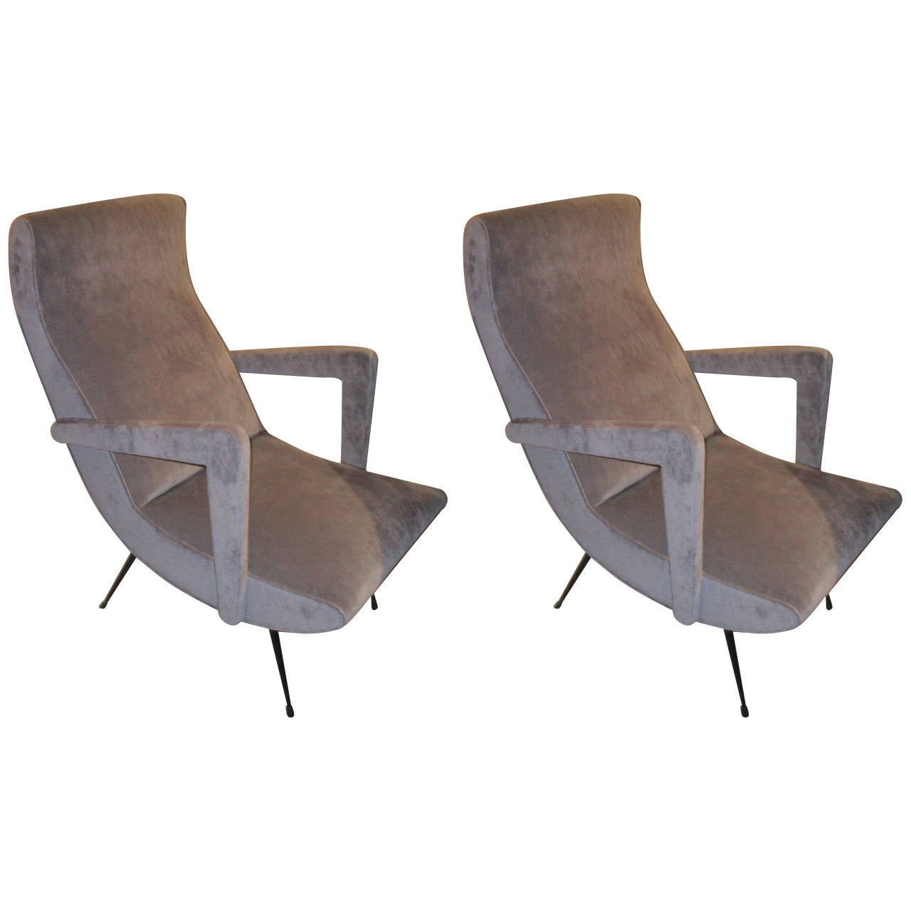 Pair of Mid Century Modern Italian Lounge Chairs