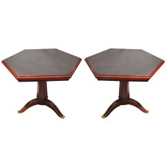 An Exceptional Pair of French Octagonal Tables with Slate Tops