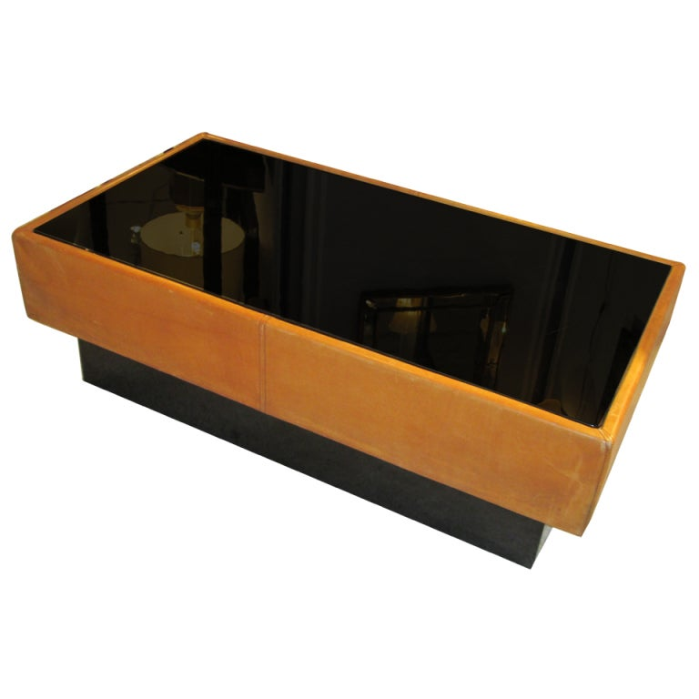 Spectacular Hand Stitched Leather Coffee Table With