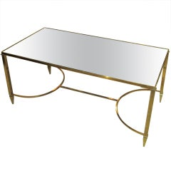 Brass Coffee Table with Mirrored Glass-Top