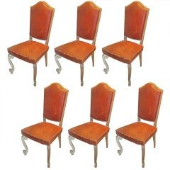 Set of Six French 1940s Cerused Oak and Leather Upholstered Chairs