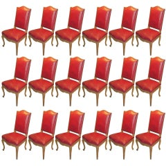 Set of 18 Red Leather-Upholstered Dining Chairs By Maison Jansen