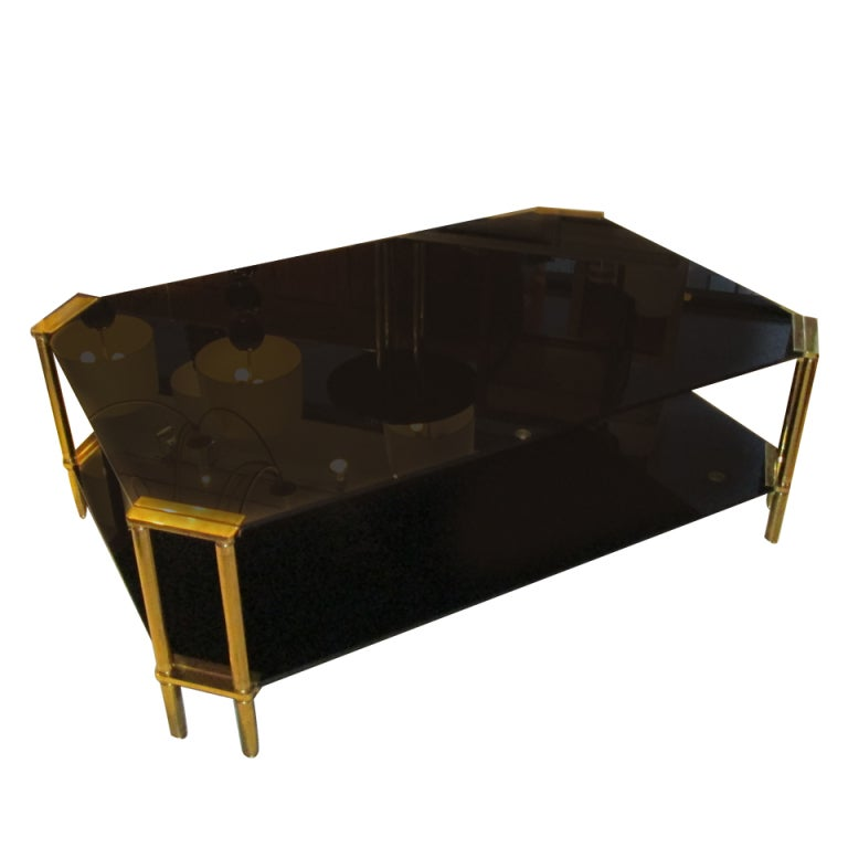 Two Tiered Brass And Glass Coffee Table: Oversized Two-Tiered Brass And Smoked Glass Coffee Tables