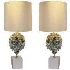 Whimsical and Unusual French  Pair of Flower Lamps on Faux-Painted
