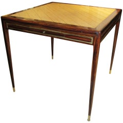 Faux-Rosewood Gaming Table with Brass Inlaid Marble Top