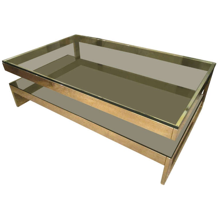 Sculptural Cantilevered Two Tier Brass Coffee Table At 1stdibs