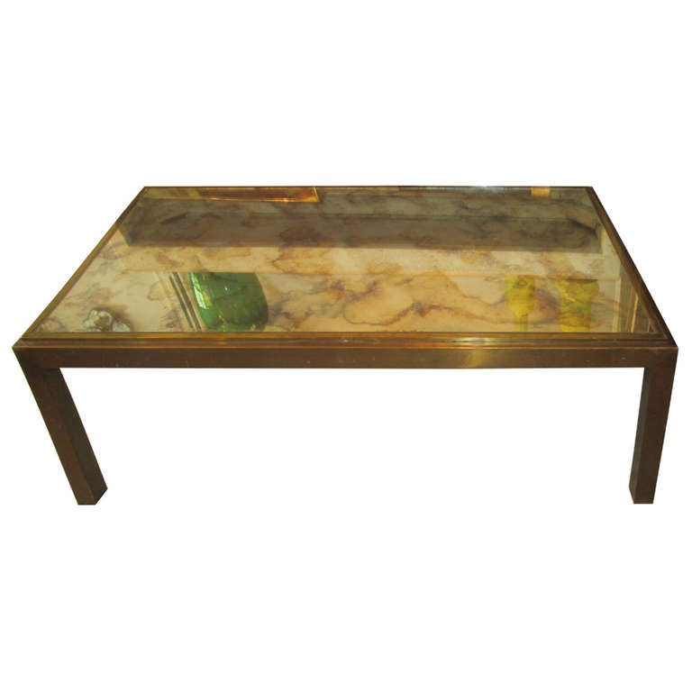Copper And Brass Coffee Table With Smoked Glass Top At 1stdibs
