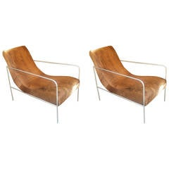 Unusual Pair of Reclining Armchairs Upholstered in Cowhide