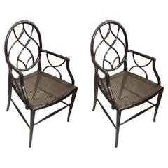 Stylish Pair of Lacquered Armchairs with Caned Seats
