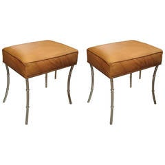 Pair of Faux Bamboo Chrome Benches Upholstered in Leather