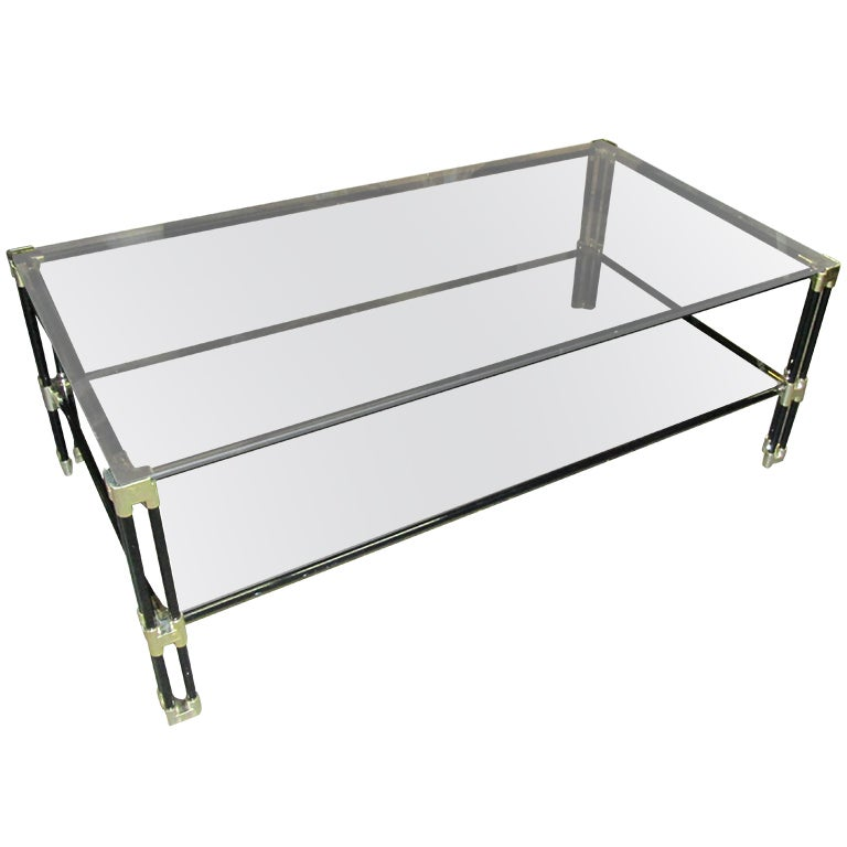 Two Tiered Brass And Glass Coffee Table: Two Tiered Coffee Table With Chrome Fittings And Smoked