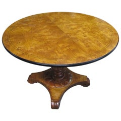 Burl Walnut Expandable Table in the Neoclassic Manner